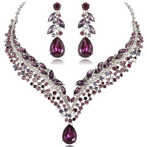 EVER FAITH® österreichischen Kristall Tropfen Blatt Halskette Ohrringe Set lila N03273-4
