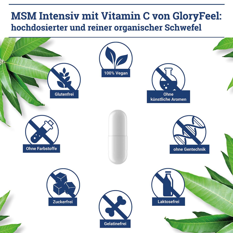 NUEVA RECETA: Ahora mayor dosificación, 800mg por cápsula de azufre puro orgánico MSM Intensivo Cápsulas 1.600 mg - 240 cápsulas de azufre orgánico ...