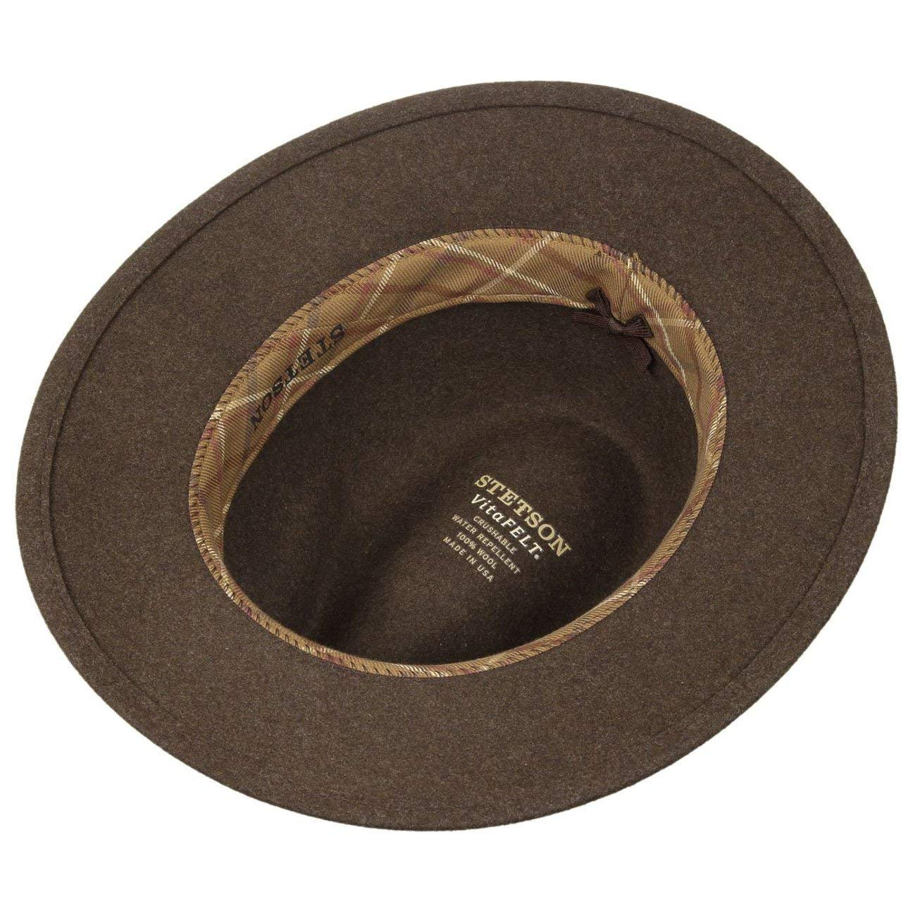 b2a24eda Stetson Newberg VitaFelt Traveller Hat Men | Made in USA Wool Felt Winter  with Leather Trim Summer-Winter: Amazon.co.uk: Clothing