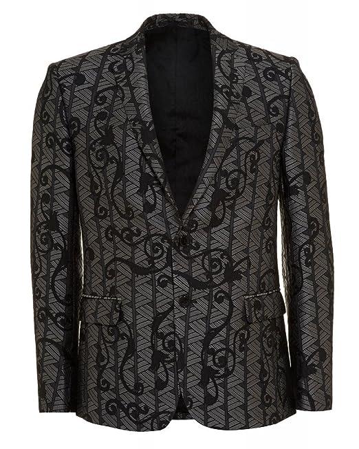 Versace Collection - Giacca da abito - Uomo Multicolore argento nero   Versace Collection  Amazon.it  Abbigliamento 980fe7b2d20