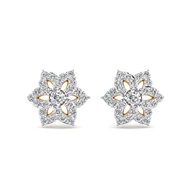 fb980cac2 Amazon.com: 14K Yellow Gold Plated Round AAA+ Cubic Zirconia Sunflower  Cluster Stud Earrings: Jewelry