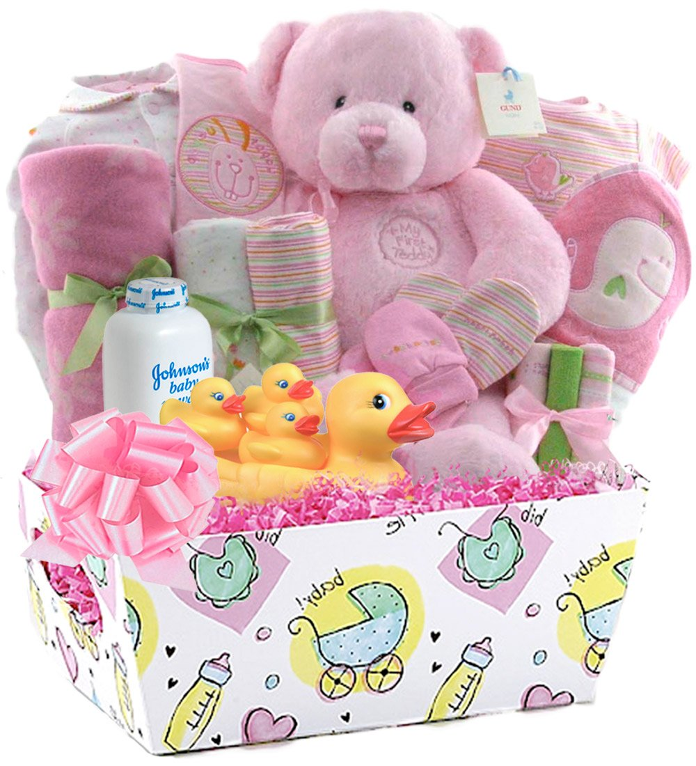 Little Miracles Baby Girl Essentials 22 Pc Deluxe Baby Gift Basket Pink