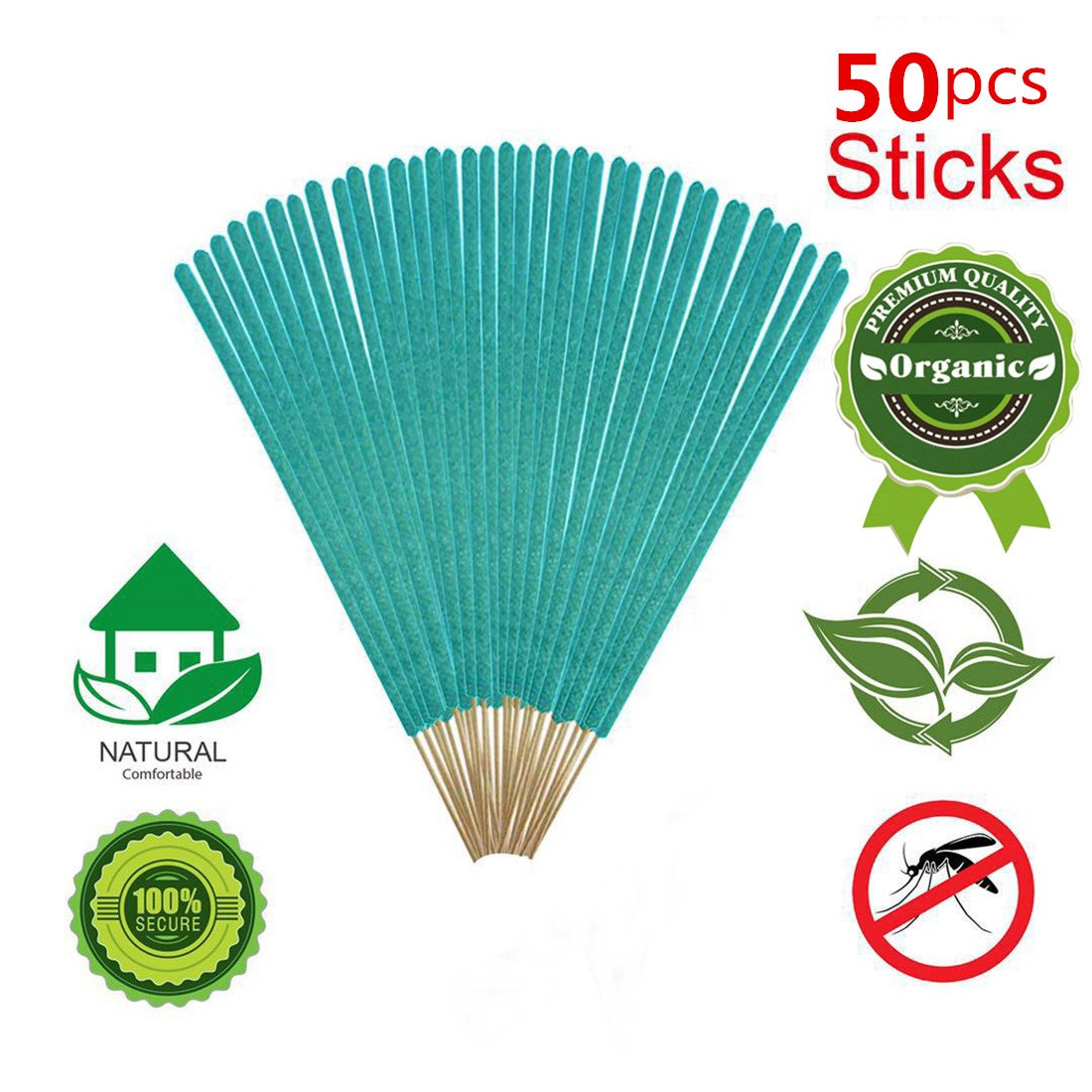 50PCS All-Natural Plant-Based Mosquito Sticks Premium Repellent Outdoor Garden Incense Sticks Long Lasting 40 minutes Time Rosemary Thyme 100% Natural Citronella with Lemongrass (Pack of 50pcs,Green) by Yoker