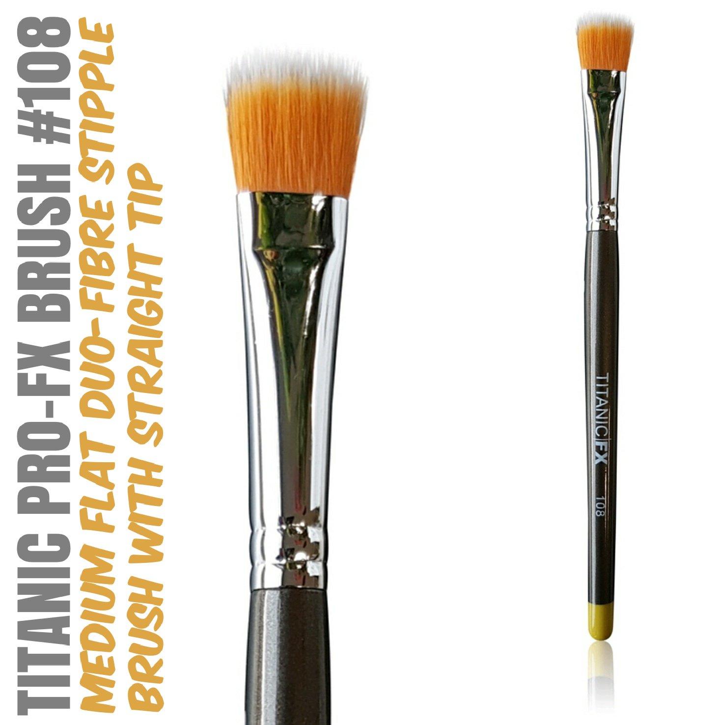 Titanic Pro-FX Brush 108 – Medium Flat Duo Fiber Stipple Brush – Prosthetic Makeup