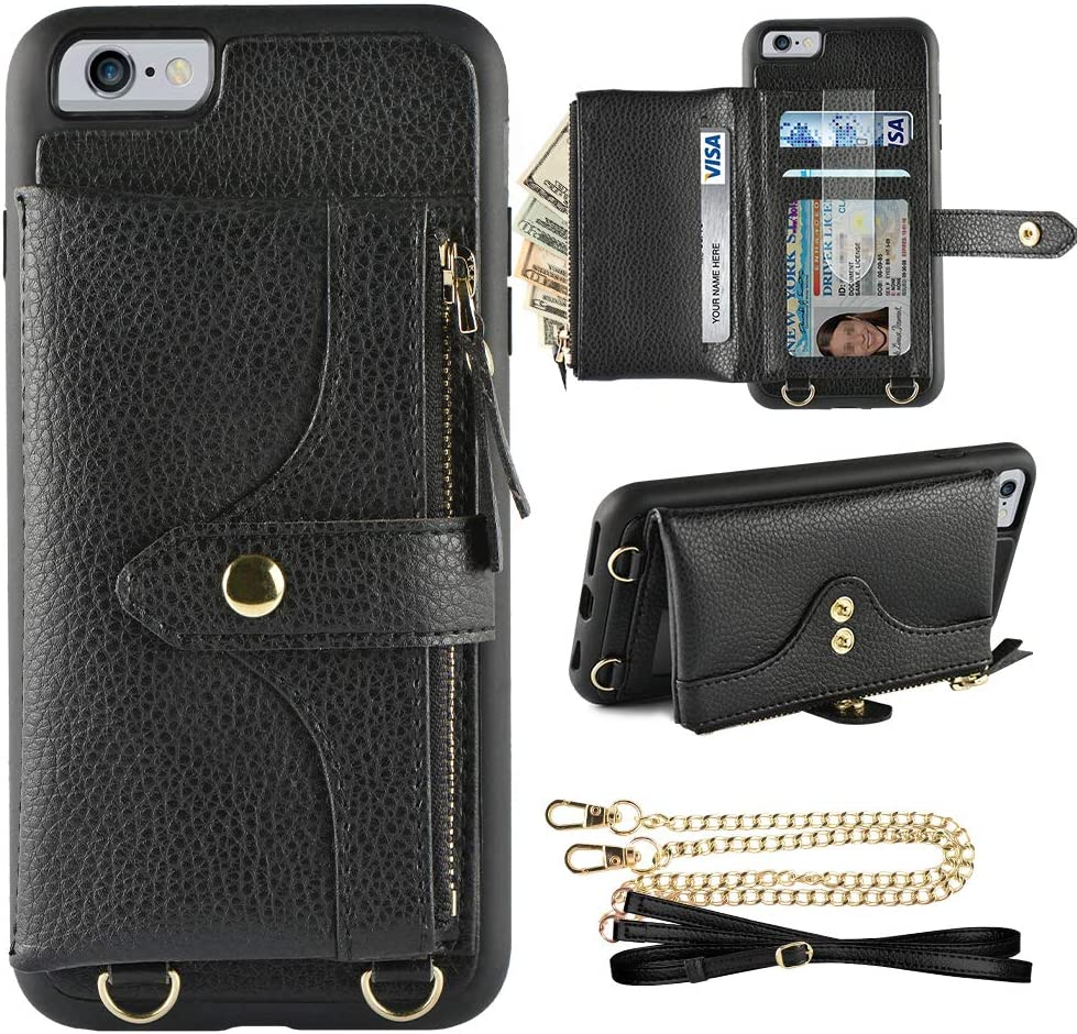 LAMEEKU Wallet Case Compatible with iPhone 6, iPhone 6s Wallet Case Zipper Case with Wrist Chain Crossbody Strap Card Holder Leather Case for iPhone 6/6s(4.7 inches Black)