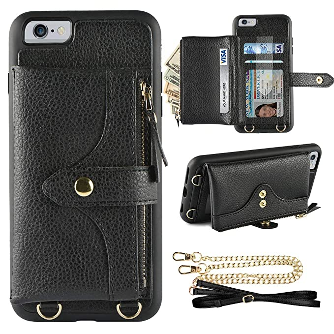 online retailer 98704 fe2f5 LAMEEKU Wallet Case Compatible with iPhone 6, iPhone 6s Wallet Case Zipper  Case with Wrist Chain Crossbody Strap Card Holder Leather Case for iPhone  ...