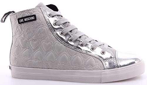 High Scarpe Cuori Moschino Sneakers Pace Love Donna Top Argento MVjzSqULpG