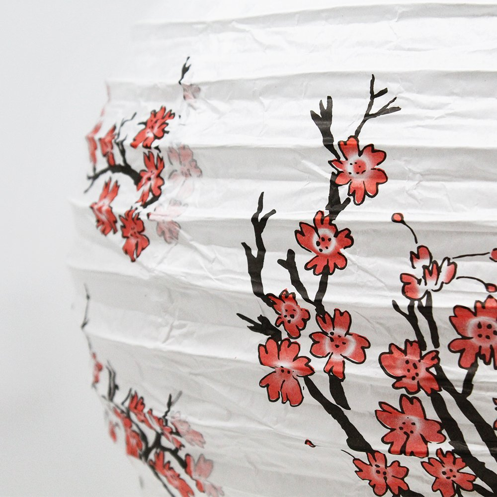 Just Artifacts (Set of 5) 16'' Red Peach Blossom Flowers White Color Chinese/Japanese Paper Lantern/Lamp - Just Artifacts Brand by Just Artifacts (Image #2)
