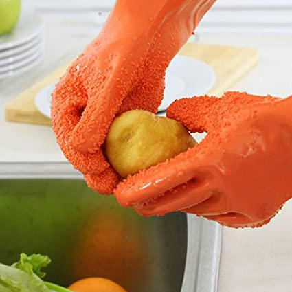 HOKIPO Reuseable Food Grade PVC Potato Peeling Gloves, 1 Pair