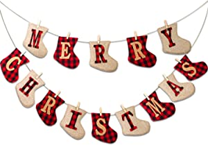 HALLO Merry Christmas Burlap Banner-Sock Shaped Christmas Decoration,Outdoor Indoor Hanging Decor,Rustic Christmas Decorations for Mantle Fireplace,Xmas Party Supplies Decoration