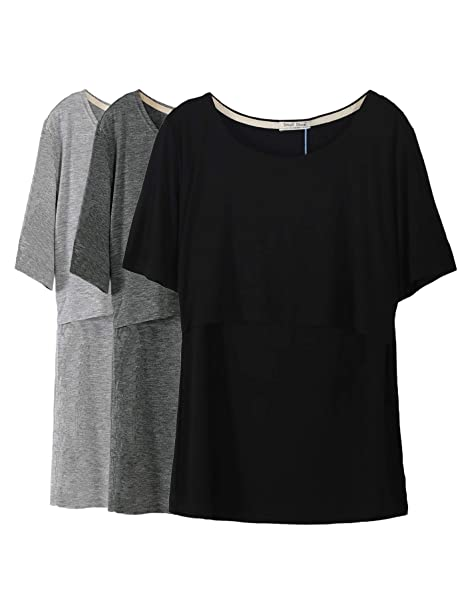 7d9ebd7a3a5bd Smallshow 3 Pcs Maternity Nursing T-Shirt Nursing Tops Dim Grey-Black-Grey