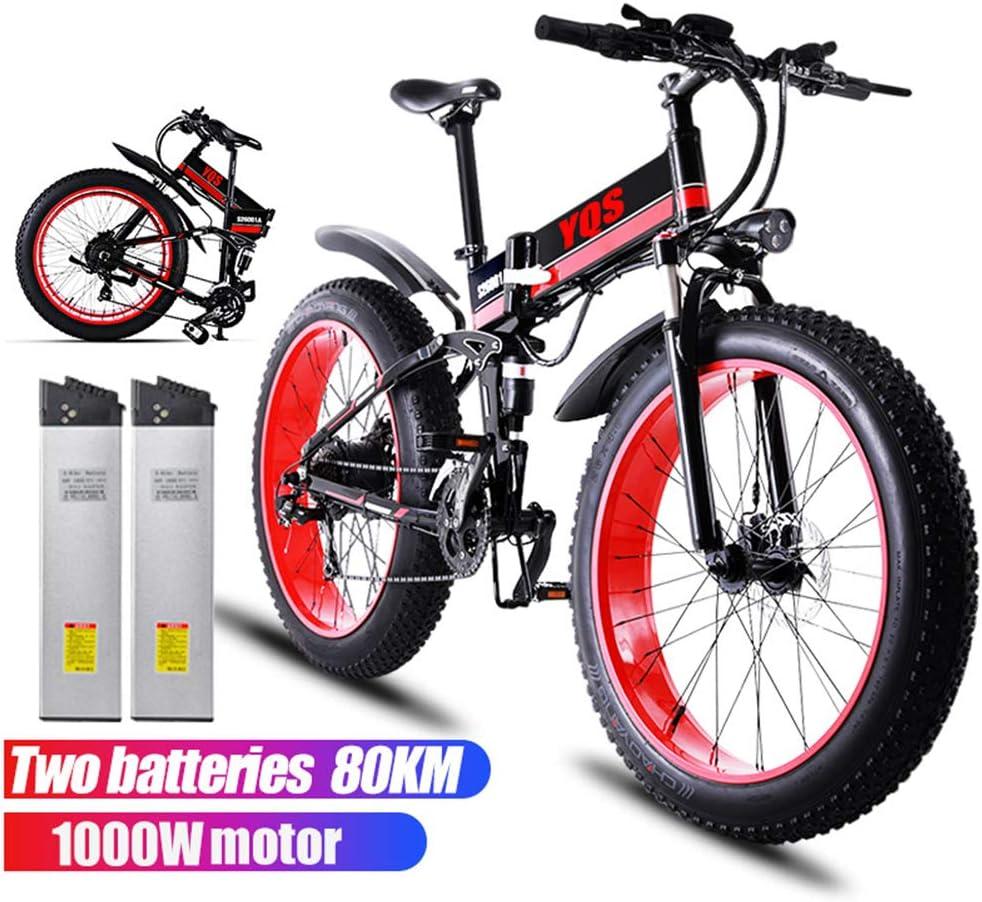 電動自転車1000W 80 KM 4.0ファットタイヤスノーマウンテンバイクEbike電動自転車Ebike 48V電動自転車(2個のバッテリー) 赤