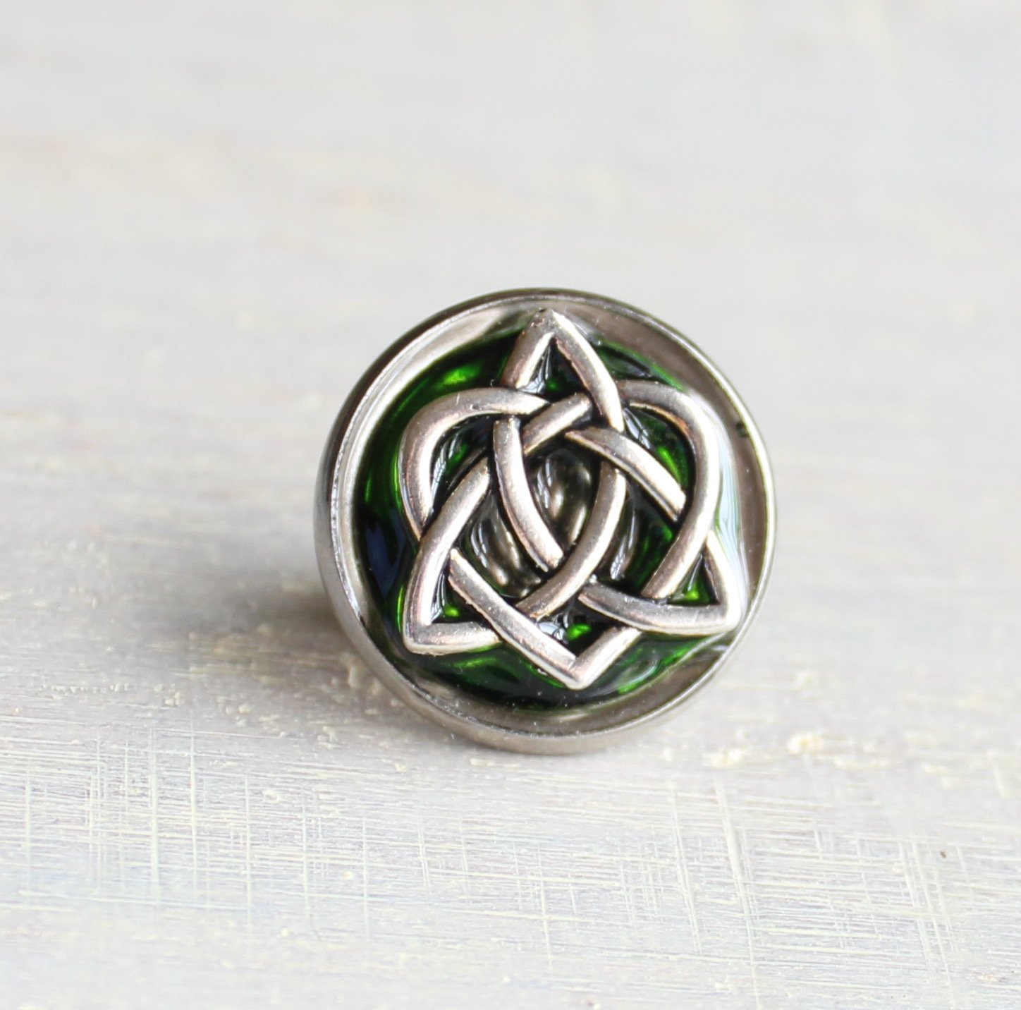 Forest green celtic knot tie tack / lapel pin.