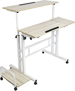 Mind Reader Mobile Sitting, Standing Desk Rolling Reversible Home Office Laptop Workstation with Side Storage, Locking Wheels, X-Large, White