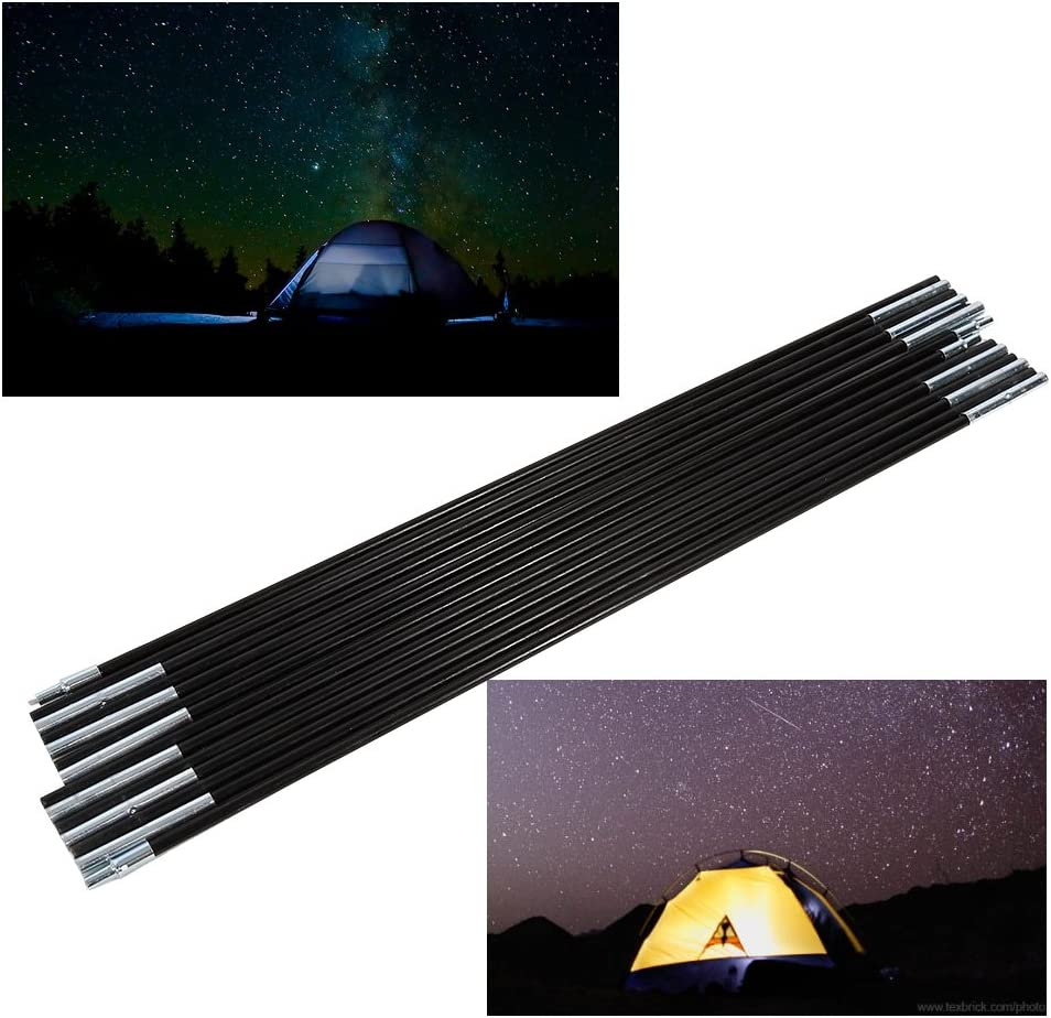 Delaman Tent Pole Outdoor Camping Fiber Glass Rod DoubleTent Pole Support Frames Kit 2 Sets 7 Sections