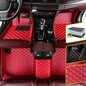 DBL Custom Car Floor Mats for Jaguar 2013-2019 F-Type 2-Door Coupe Waterproof Non-Slip Leather Carpets Automotive Interior Accessories 1 Set Red
