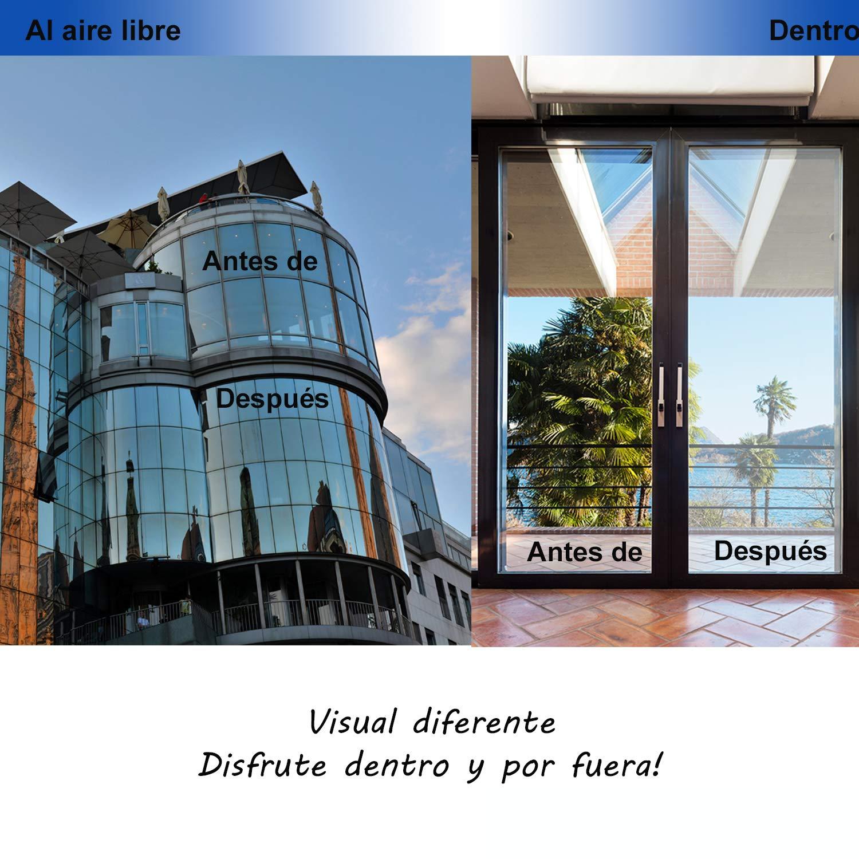 60/_x/_180/_cm+ 60/_x/_380/_cm DORURE Vinilo Ventana Cristal Protector Solar L/ámina Privacidad de Una Manera Espejo Pel/ícula Adhesiva de Gran Reflexi/ón Anti 99/% UV Mejor Control de Calor F/ácil