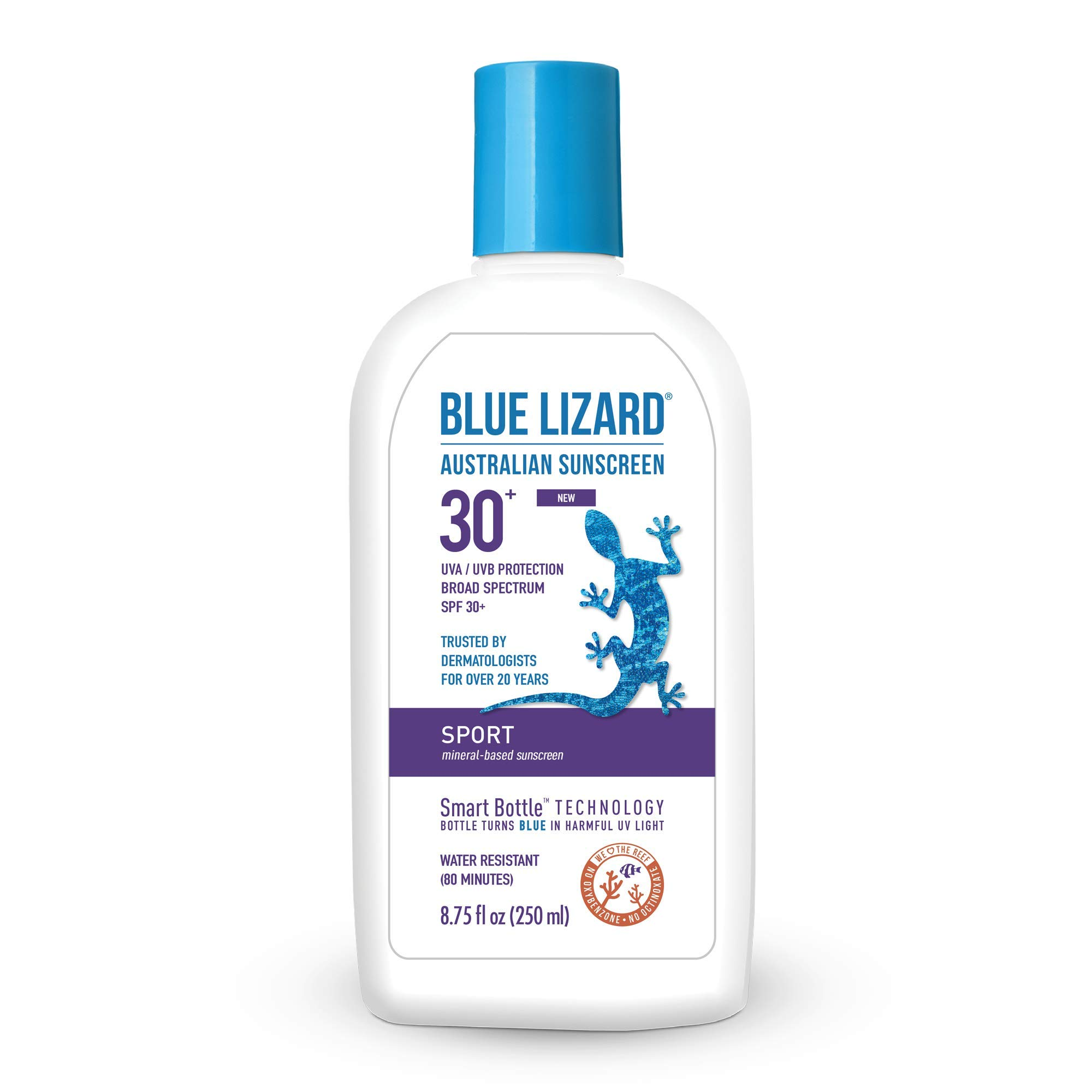 Blue Lizard Sport Mineral Sunscreen with No Chemical Ingredients SPF 30 UVA/UVB Protection, 8.75 oz Bottle