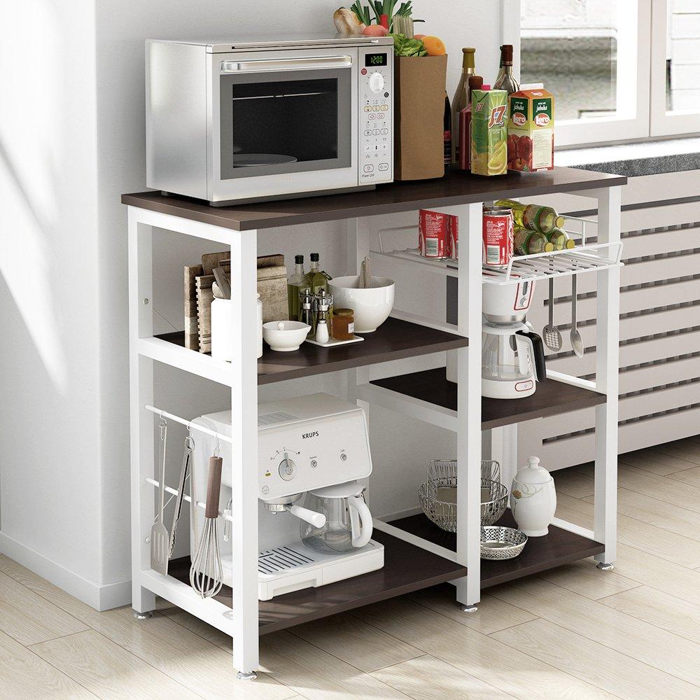 Mixcept Multi-purpose 3-tier Kitchen Baker's Rack Utility Microwave Oven Stand Storage Cart Workstation Shelf W5S-BK-MI (Black) by Mixcept (Image #3)