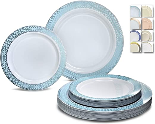 60 Full Table Settings Elegant Disposable Bone//Gold Rimmed Plates-Cups-Cutlery