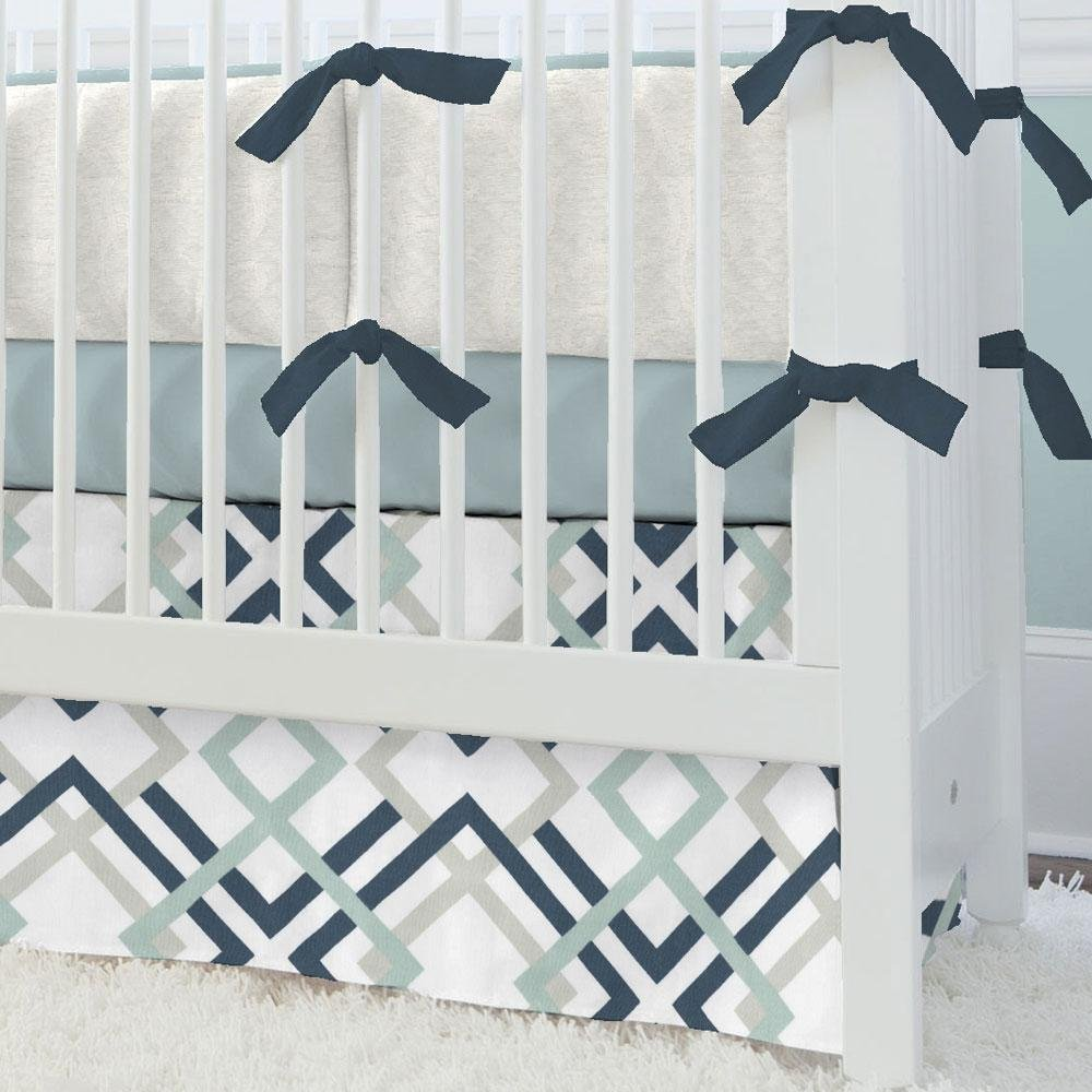 Carousel Designs Navy and Gray Geometric Crib Skirt Straight 14-Inch Length