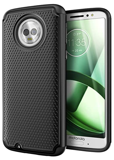 buy online 7f4f1 c21b7 Cimo Armor Moto G6 Case with Shockproof Dual Layer Protection and Rugged  Hybrid Shell for Motorola Moto G6 - Black