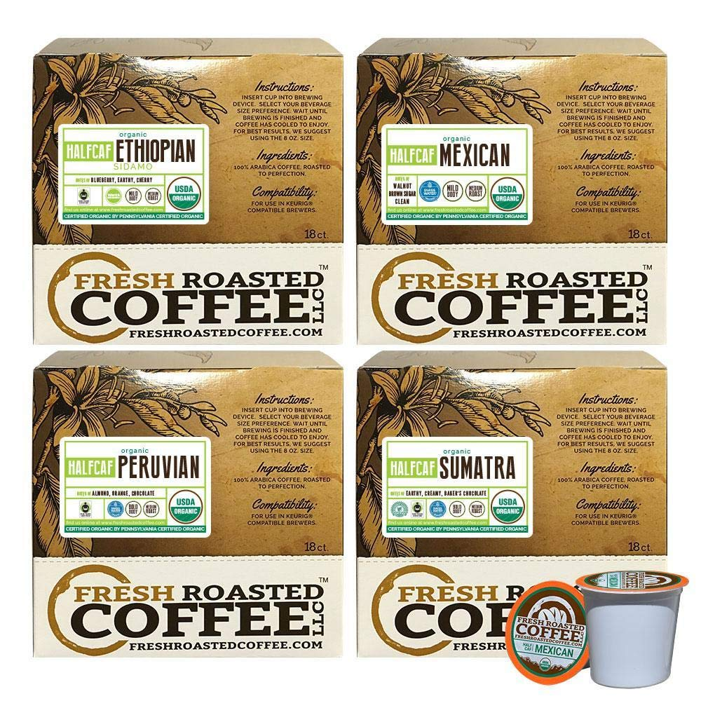 Fresh Roasted Coffee LLC, Half Caf Coffee Pod Variety Pack, USDA Organic, Medium Roast, Compatible with 1.0 / 2.0 Single-Serve Brewers, 72 Count