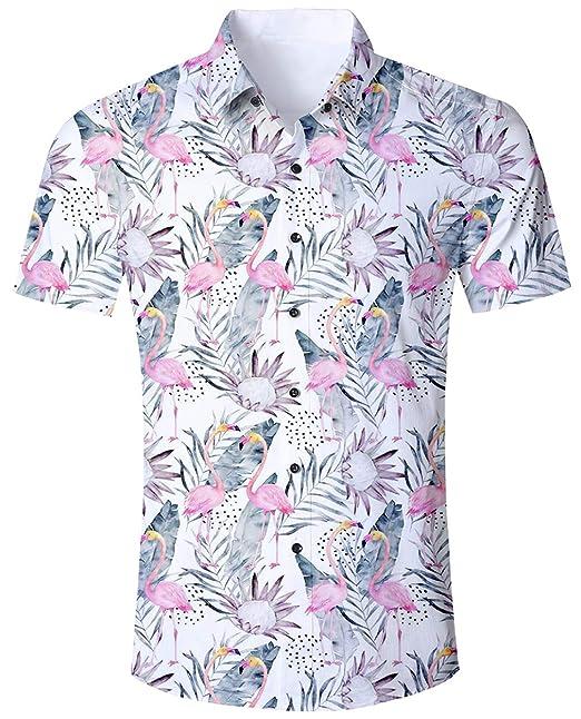 ff3f1b593eeb ALISISTER Camisa Hawaiana Hombre Estampado en 3D Botón Informal Abajo Playa  Camisa Manga Corta Aloha de Vacaciones Camiseta Foral