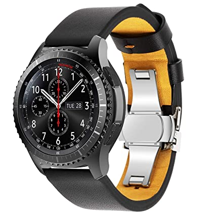 VODKE Compatible Samsung Galaxy Watch 46mm Bands & Gear S3 Frontier Bands,22mm Butterfly Buckle Premium Genuine Leather Replacement Strap Wrist Band ...