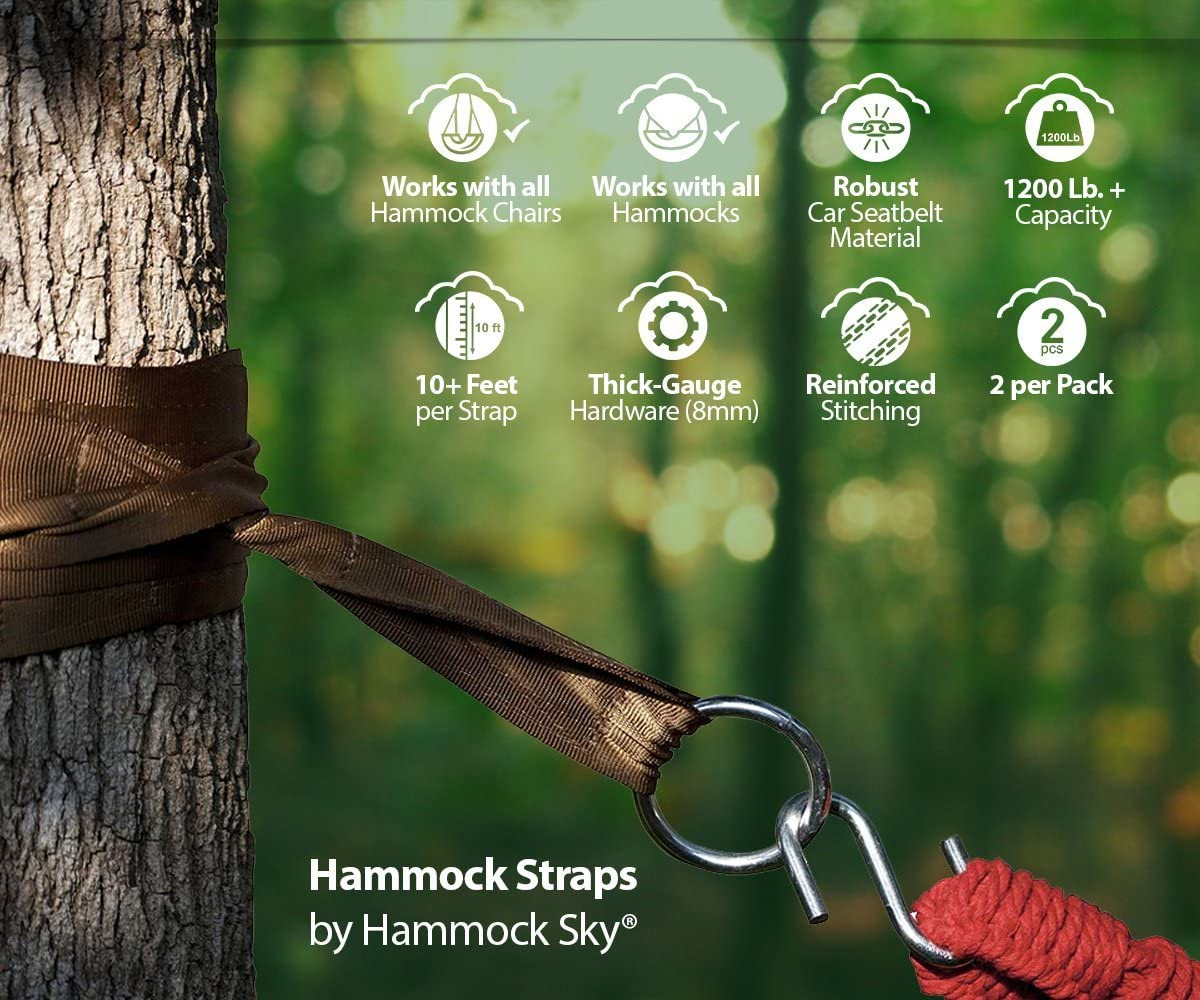 Best Extra Long Hanging Straps for Camping Hammock Tree Straps by Hammock Sky
