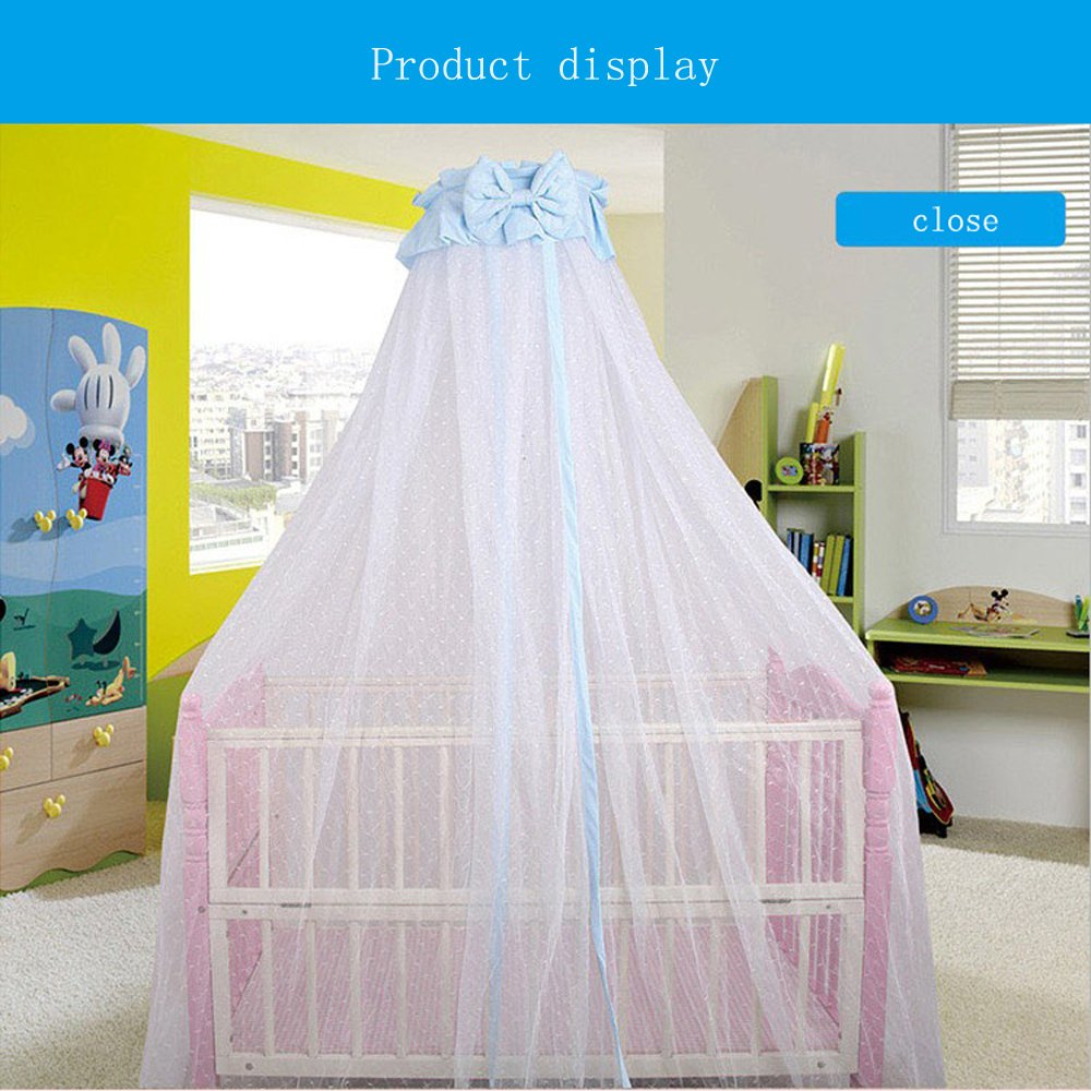 CdyBox Breathable Crib Netting Bed Curtains Canopy for Kids Mosquito Net Bedroom Decor (Blue, Mosquito net+Stand) by CdyBox (Image #2)