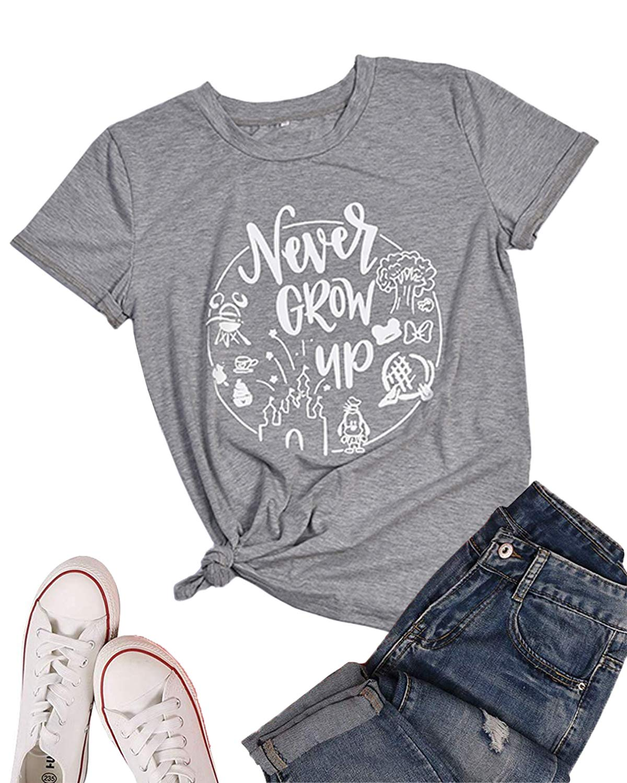 LeMarnia Graphic Tees for Women, Teen Girls Crewneck Never Grow Up Disney Shirt Short Sleeve Letter Print T-Shirts Cotton Knit Casual Tops Grey XL