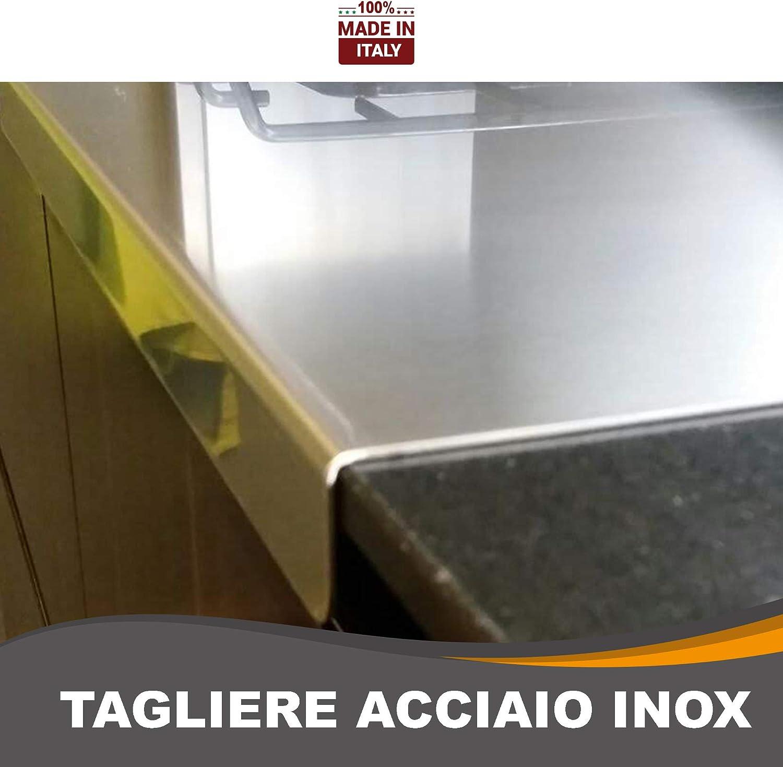 L30 X P50 X Piega 3CM X ALZ 7CM ZeroInox Tagliere in Acciaio Inox Varie Misure con ALZATINA per Proteggere Il Piano della Cucina profondit/à 50 cm