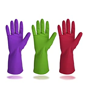 Cleanbear Synthetic Rubber Gloves, Medium Size, 11.8 Inches, 3 Pairs 3 Colors (Rosy Green Purple)