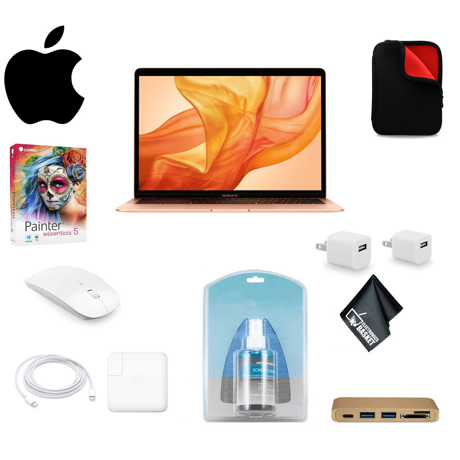 Apple 13.3 Inch MacBook Air Laptop with Retina Display (Late 2018 Version, Gold) MREA2LL/A 128GB SSD Bundle w/ Mouse + Carrying Case + Corel Mac Software Kit+ More