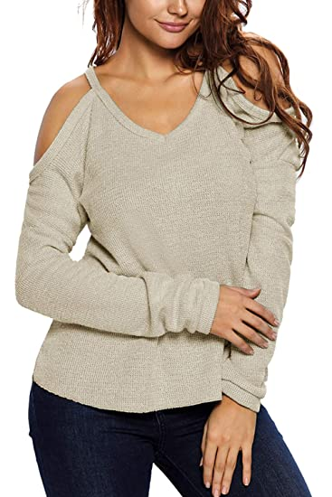 Womens V Neck Sweater Off The Shoulder Solid Pullover At Amazon