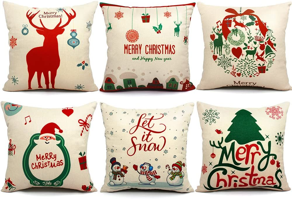 Amazon Com Orwine 6 Packs Christmas Pillows Covers 18 X 18 Christmas Decorations Pillows Covers Christmas Decorative Throw Pillow Case Sofa Indoor Outdoor Home Décor For Thanksgiving Day Party Supplies Home Kitchen