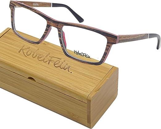 KobelFein Brillengestelle Holz-Brille Herren Damen inkl Brillenetui Bambus
