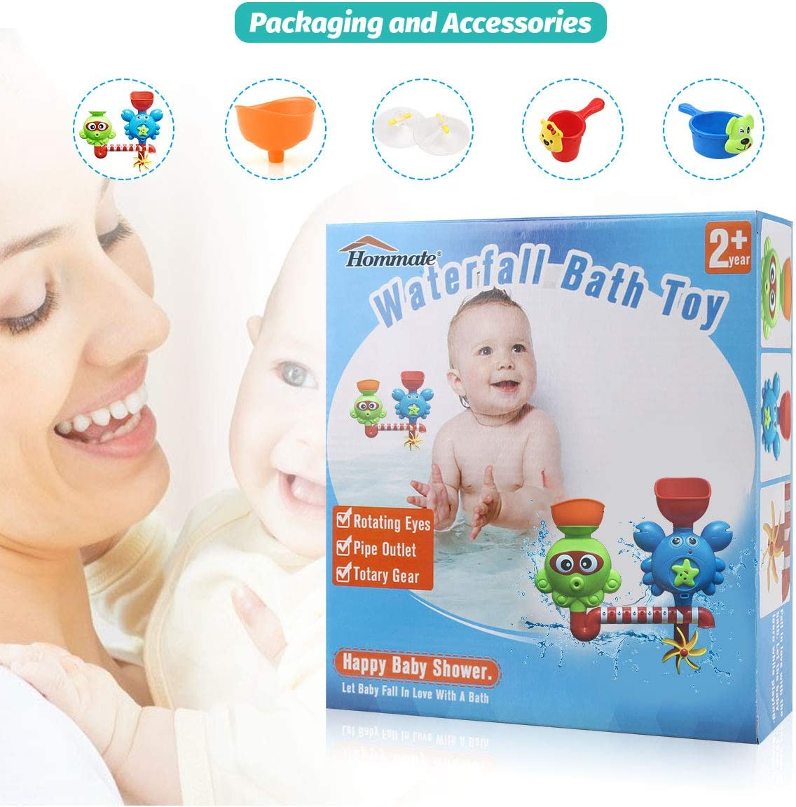 GOODLOGO Bath Toys for Toddlers Kids Babies 1 2 3 Year Old Boys Girls Bathtub Toy with 2 Toy Cups Strong Suction Cups Ideas Color Box Multicolor