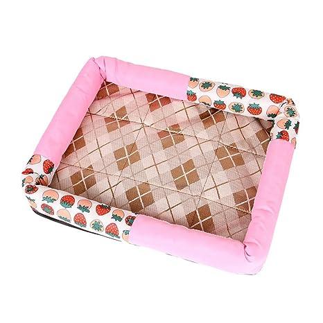 Yiiquanan Cama para Perros Gato Enfriamiento Estera Cómodo Casa para Mascotas Verano Respirable Perrera (Rosa
