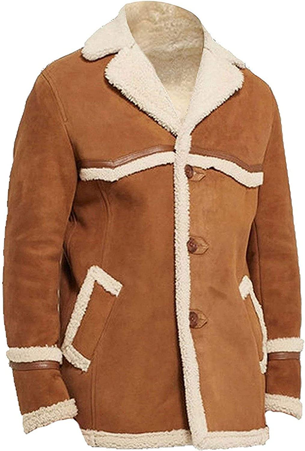 Kingsman The Golden Circle Harry Hart Colin Firth Fur Shearling Brown Suede Leather Coat
