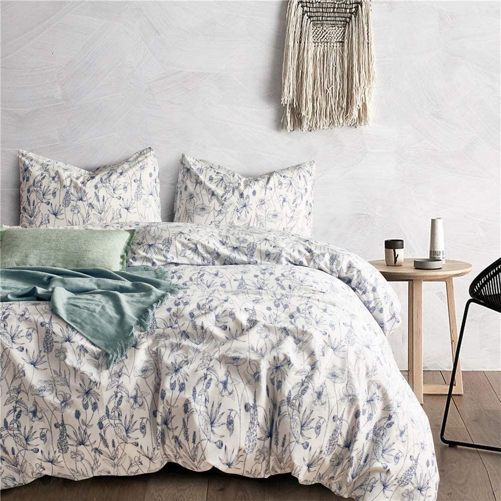 HoneiLife Blue Floral Pattern Duvet Cover Set Queen/Full Flowers Leaves on White Bedding Set with Zipper Closure Ties with 1x Duvet Cover 2X Pillowcases(3pcs,Queen/Full Size)