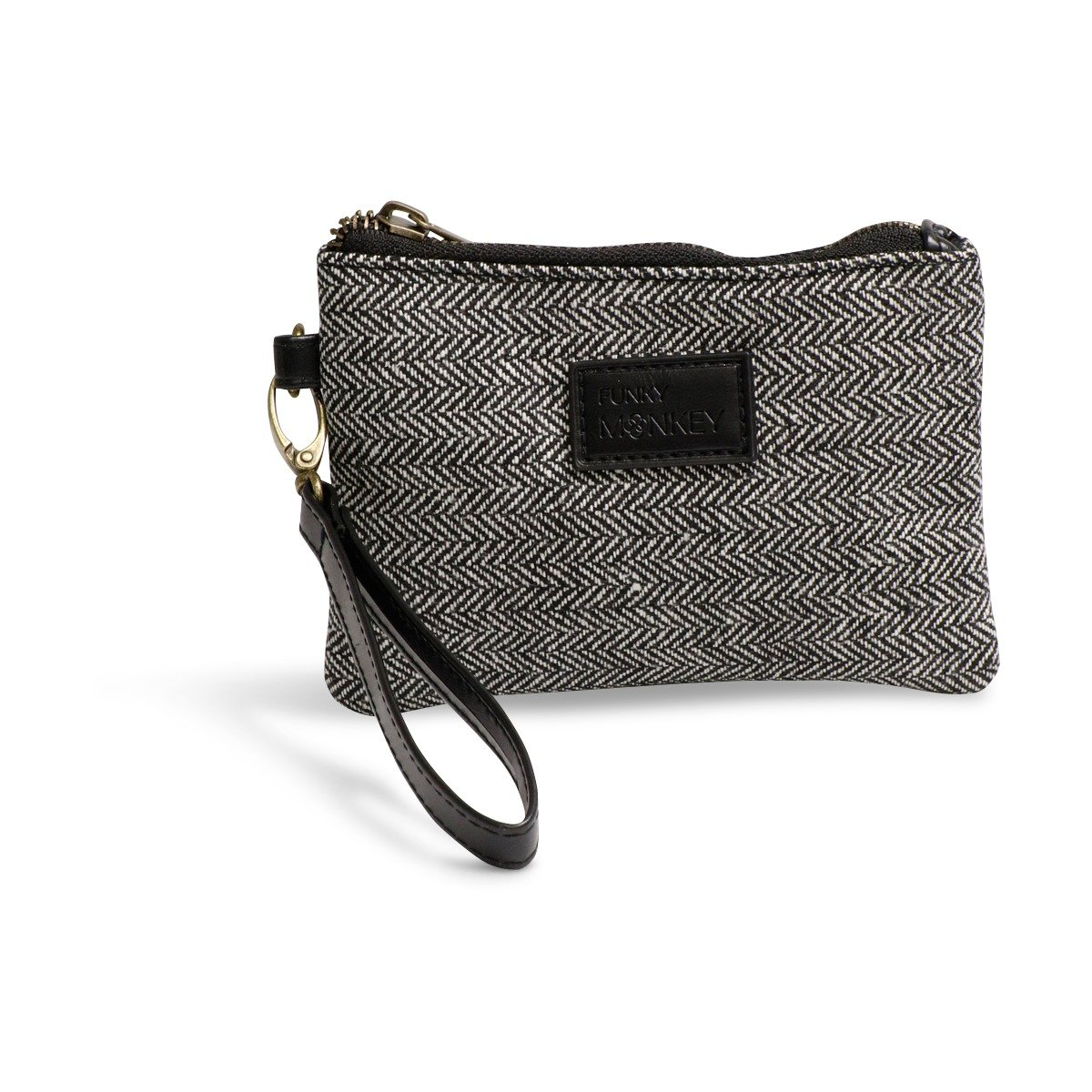 {Anna Collection} Wristlet Wallet Clutch Bag {small, medium, large}- Phone Purse Handbag - Size- Black & White Horizontal Herringbone Style - Funky Monkey Fashion (Small)