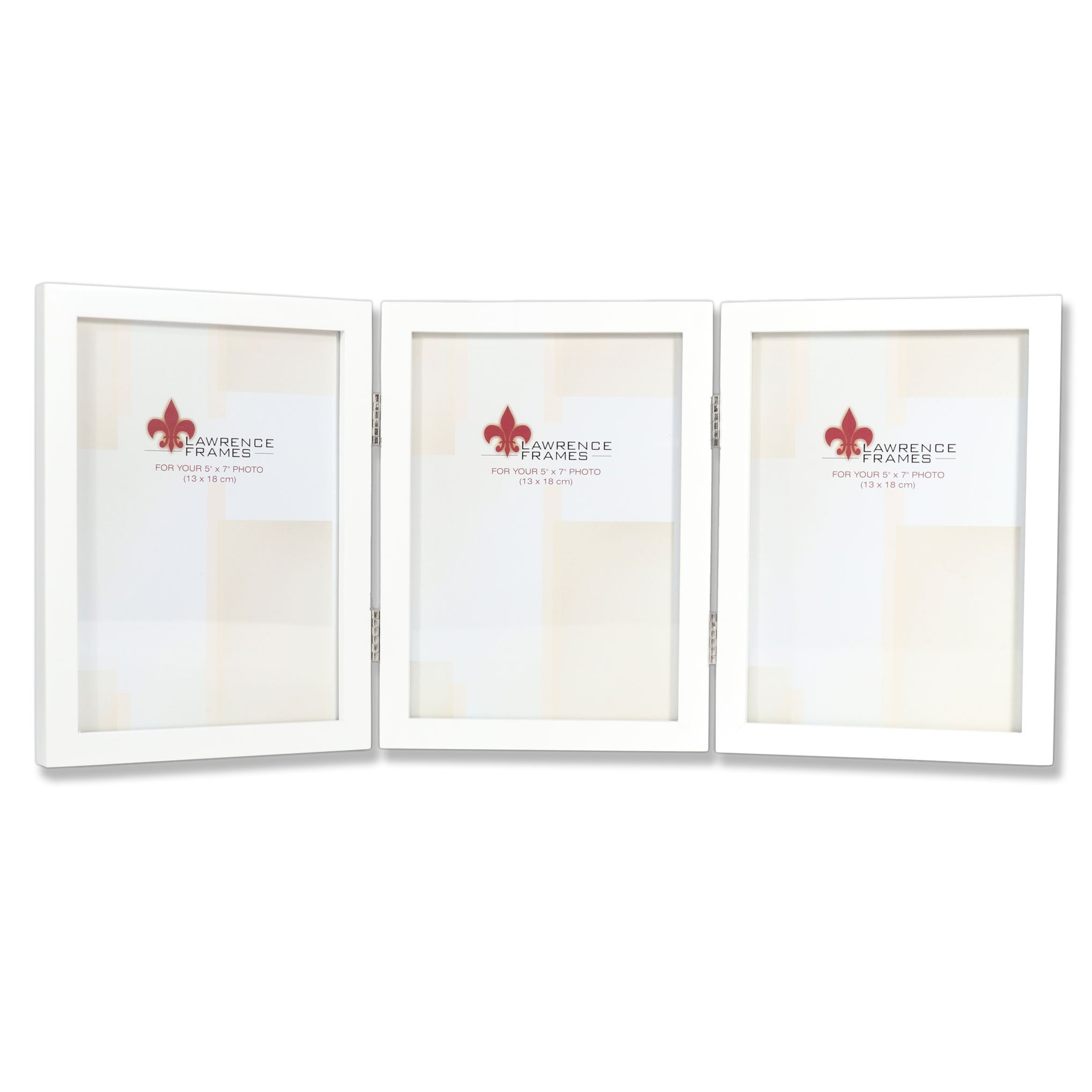 Lawrence Frames Hinged Triple White Wood Picture Frame, Gallery Collection, 5 by 7-Inch by Lawrence Frames