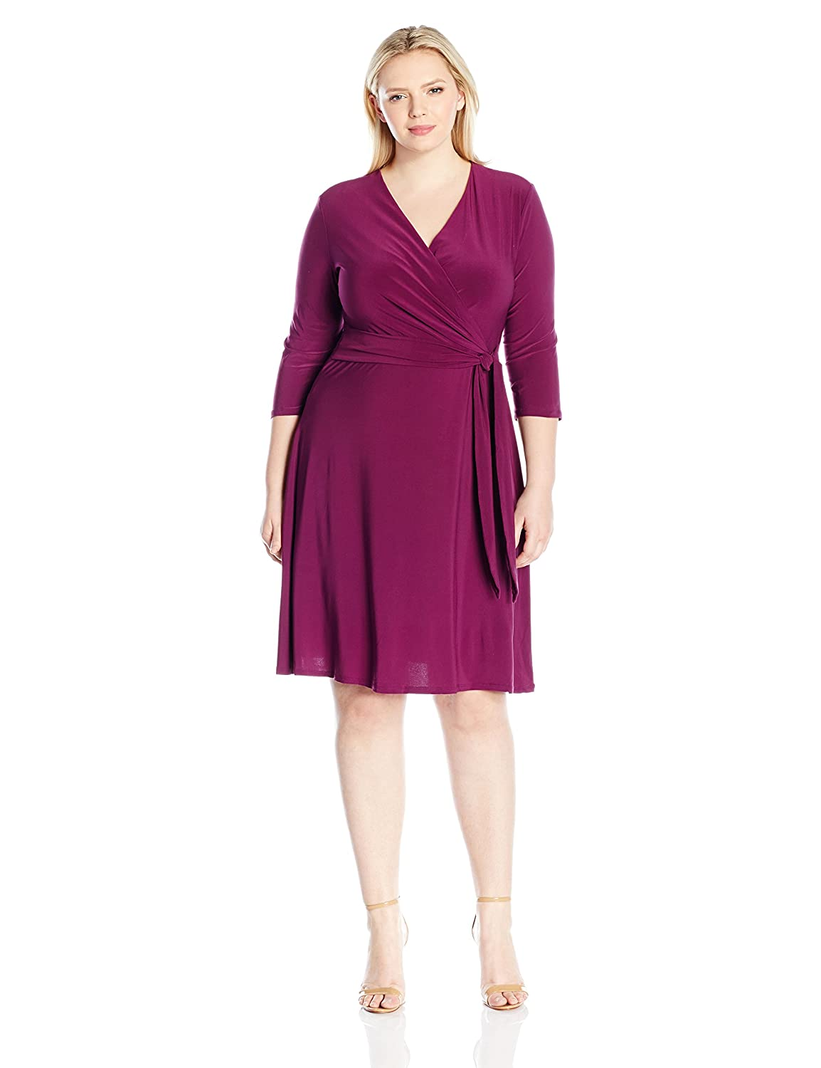 NY Collection Womens Plus Size Solid Ity 3//4 SLV Dress