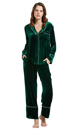 LilySilk Warm Silk Velvet Pajamas Set for Women Chic Trimmed Long Sleeve Ladies  Winter Sleepwear Forest 07336c0c2