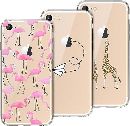 Yokata [3 Pack Cover per iPhone 7 Cover iPhone 8 Custodia Silicone Trasparenti con Disegni Case Caso Gomma TPU Morbido Ultra Slim Antiurto Protettiva ...