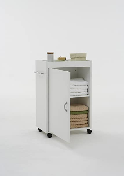 Cadiz White Bathroom Shelf Drawer Storage Unit On Wheels