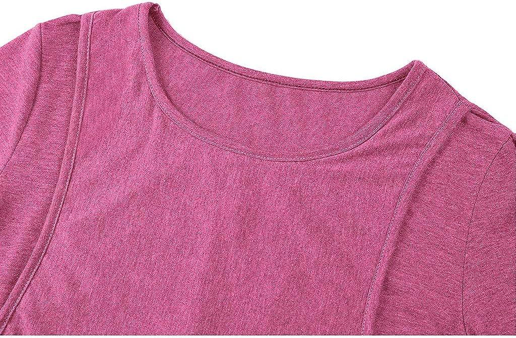 SUDADY Allattamento Magliette a Maniche Corte Ritaglio Nascosto T-Shirt per LAllattamento Modello a Strati Maternita Canotta Traspirante Tunica Discrezione sul Petto per Allattare