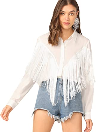 Women/'s Long Sleeve Fringe Top